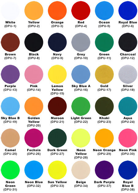 PU Flex Colour Chart
